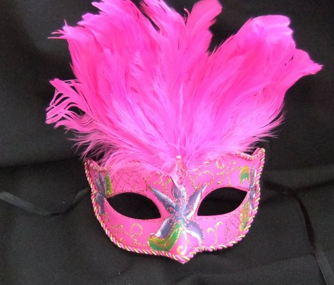 Vibrant Cerise feather Petite Mask